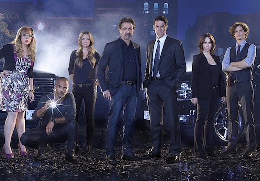 The Criminal Minds cast photographed in Los Angeles in August 2014: Kirsten Vangsness, Shemar Moore, A. J. Cook, Joe Mantegna, Thomas Gibson, Jennifer Love Hewitt,  and Matthew Gray Gubler.  Photo: Cliff Lipson/CBS © 2014 CBS Broadcasting Inc. All Rights Reserved.